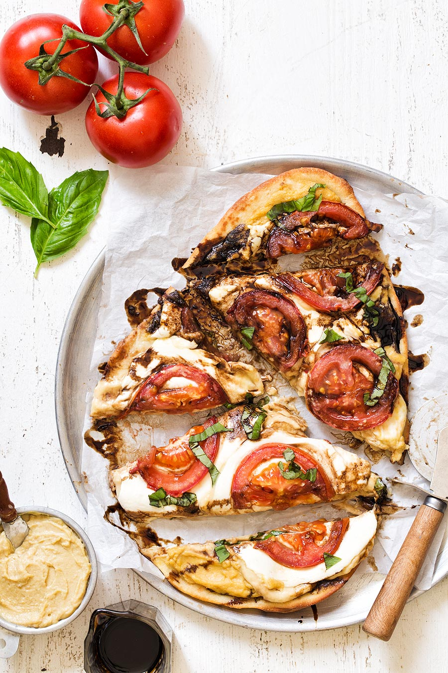 Caprese Hummus Pizza by Carla Cardello
