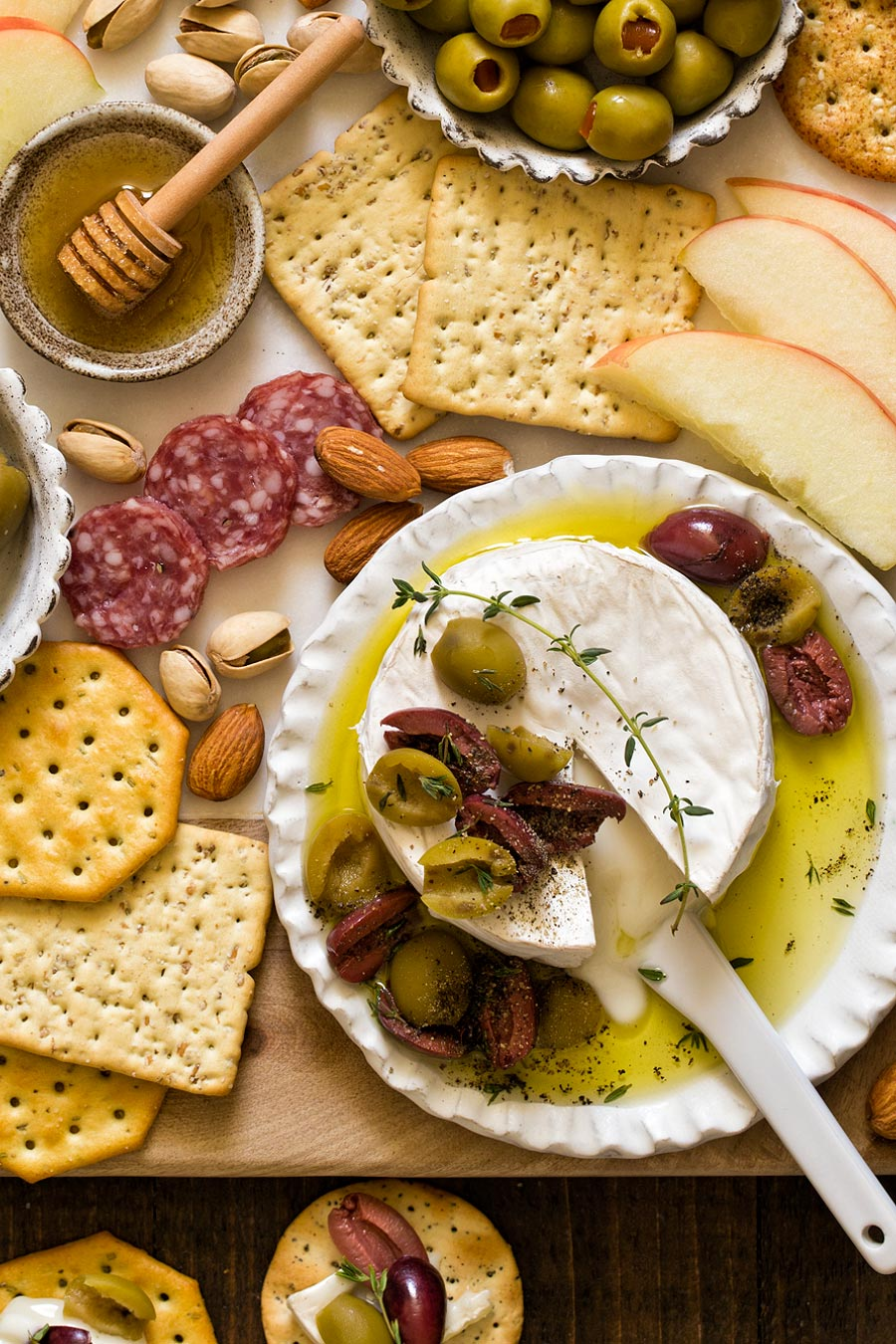 Olive Baked Brie by Carla Cardello Food Photographer