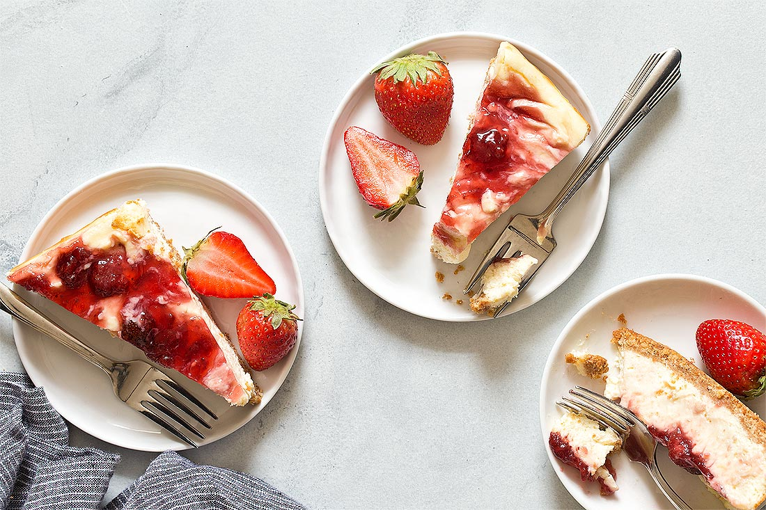 Strawberry Cheesecake Bars by Carla Cardello Food Photographer
